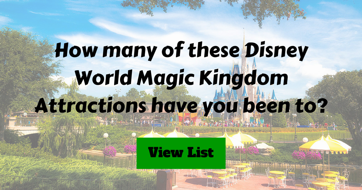 Disney Magic Kingdom Attractions List Challenge